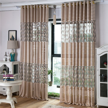 2 Panel Gray Jacquard Sheer Tulle Curtains Bedroom Balcony Hollow Out Window Screening Decor