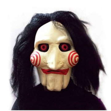 Jigsaw Creepy Scary Halloween Clown Mask Rubber Latex Saw Horror Movie Cosplay