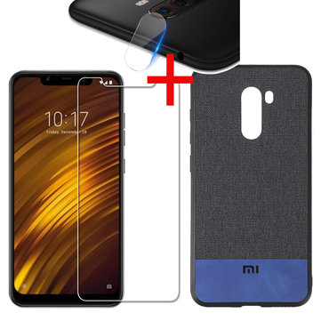 Bakeey Fabric Splice Soft Edge Protective Case+Tempered Glass+Lens Protector For Xiaomi Pocophone F1