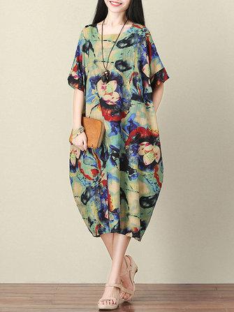 Women Batwing Robe courte à manches courtes imprimées à fleurs