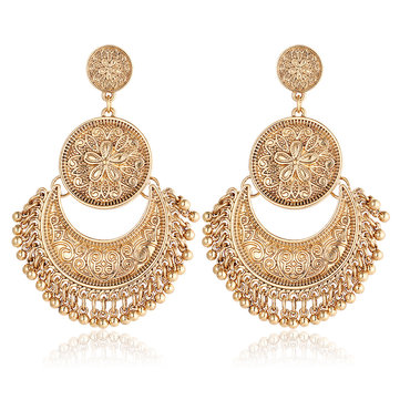 Retro Ethnic Tassel Alloy Flower Moon Drop Dangle Earring Jewelry for Women