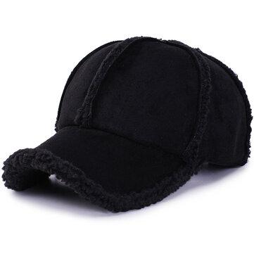 Mens Womens Winter Cotton Adjustable Thicken Baseball Cap Vintage Plush Warm Forward Hat