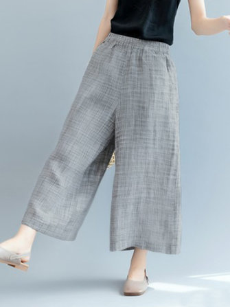 Plus Size Casual Loose Elastic Waist Wide Leg Pants