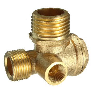 Brass 3 Port Central Pneumatic Air Compressor Check Valve 44×44×30mm