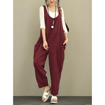 Plus Size Vintage Women Pure Color Cotton Jumpsuits