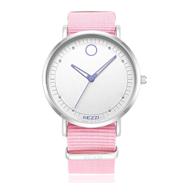 KEZZI 1524 Classic Women Men Quartz Watch Simple Nylon Strap Student Wristwatch