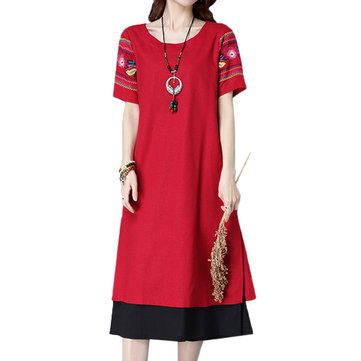 Vintage Women Embroidery Short Sleeve Fake Two-Piece Dress