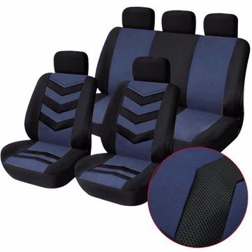 Tirol Breathable Universal Car Seat Cushion Cover Gray Blue for SUV Sedans 9pcs