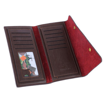 Men PU Leather Long Style Wallet Business Card Holder Handbag