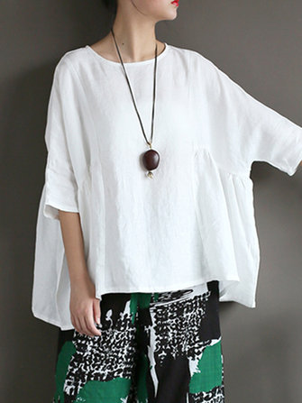 Casual Women Pure Color Half Sleeve Asymmetric Retro Blouse