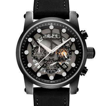 CRRJU 2137 Military Style Skeleton Chronograph Quartz Watch