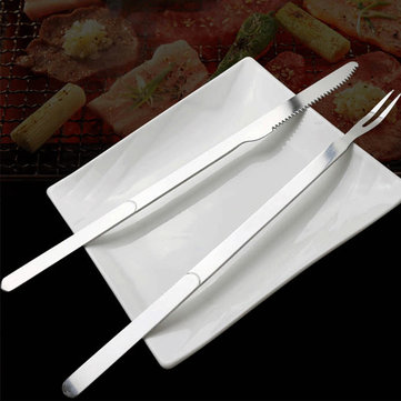 1 Set Stainless Steel BBQ Knife Fork Barbecue Camping Baking Kitchen Knife Fork