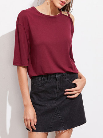 Sexy Women Crew Neck Off Shoulder High-Low T-shirts