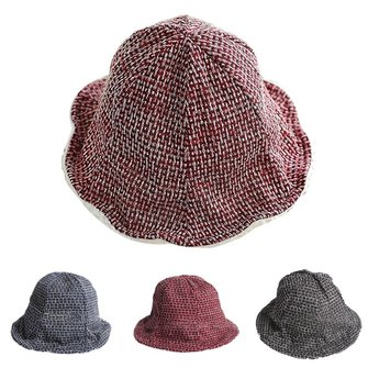 Women Cotton Casual Knit Bucket Hat Sun Protection Camping Fishing Thicken Plush Cap