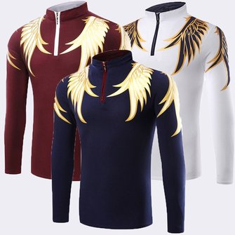 Wings Printed Mens Long Sleeve Polo T-Shirt Turtleneck Fashion T-shirts