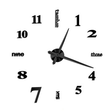 Large Mirror Wall Clock 3D Hanging Clock Bracket Clock Black Silver