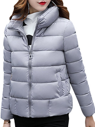 Casual Women Pure Color Winter Short Coat