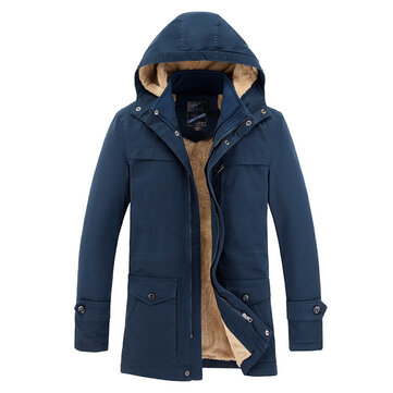 Winter Fleece Thick Warm Hooded Cotton Jackets Outdoor Parkas for Men