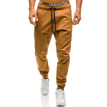 Men's Casual Tether Tights Open Crotch Pants Solid Color Drawstring Elastic Waist Jogging Pants