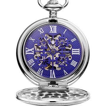 OUYAWEI P05 Clover Hollow Mechanical Pocket Watches Retro Pendant Pocket Watch
