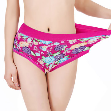Women Soft Comfy Modal Floral Printed Mid Waist Panties Briefs Underwear