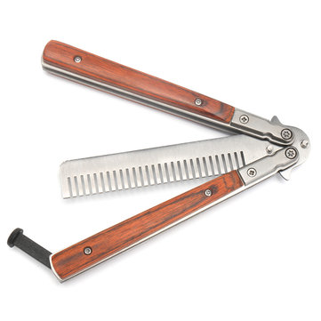 Butterfly Knife Trainning Practice Unsharpened Metal Blade Comb Style Trainer Tool