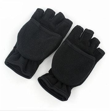 Winter Waterproof Warm Fingerless Gloves Convertible To Flip Top Fleece Mittens