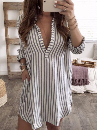 Plus Size Women Long Sleeve V Neck Stripe Tops Shirt Mini Dress