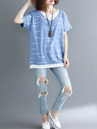 O-neck Letter Print Patchwork Short Sleeves Blouse