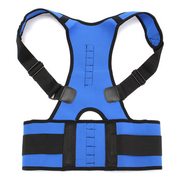 Blue Neoprene Magnetic Adjustable Back Support Brace Posture Corrector Lumbar Shoulder Belt