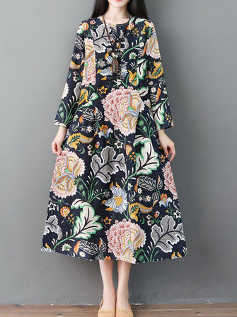 Vintage Floral Print Long Sleeve Frog Button Pockets Dress