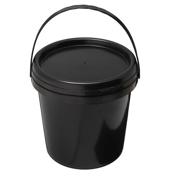 5L Plastic Round Water Bucket Hydroponics System DWC Black Thick Chemical Barrel with Lid Handle