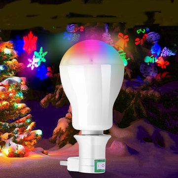 AC220V 5W RGB LED Christmas Projection Light Bulb with E27 Plug Adapter for DJ Party Holiday Festiva