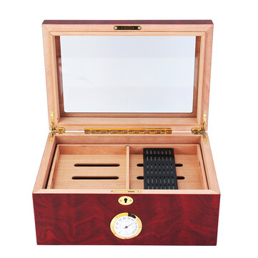 120 Pcs Wooden Grain Humidifier Storage Box Case With Lockstitch Transparent Display Window Double Layer