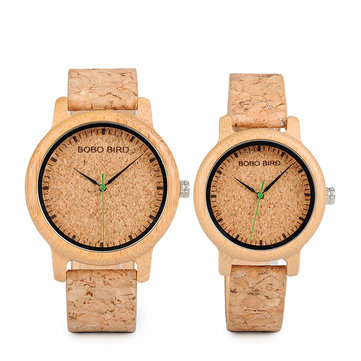 BOBO BIRD W*M11M12 Unique Design Watch Band Quartz Watches Lovers Bamboo Couple Watch