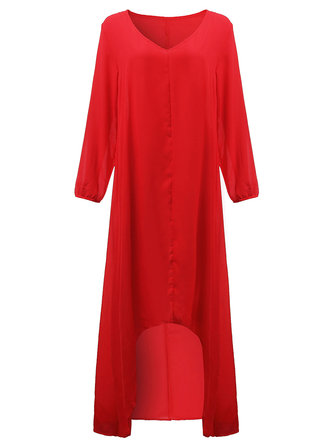 Asymmetrical Casual Loose Chiffon V Neck Women Maxi Dress