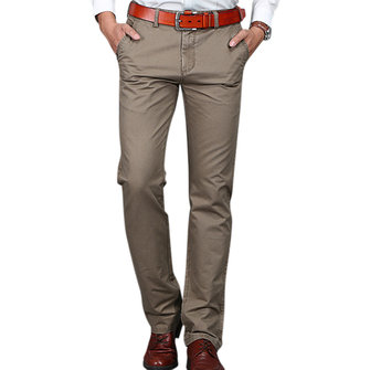 Mens Casual Straight Leg Pants Business Solid Color Slim Fit Pants