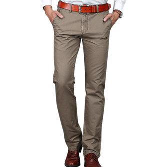 Piedino diritto casuale degli uomini Pantaloni Business Solid Color Sottile Fit Pantaloni