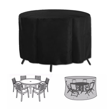 Garden Patio Table Cover Round Furniture Shelter Protector Outdoor Anti-Dust Waterproof Cover