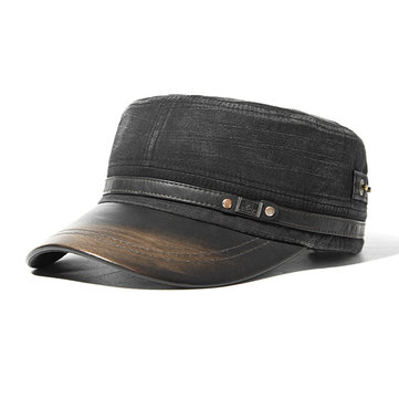 Mens Unisex PU Leather Brim Military Washed Baseball Cap