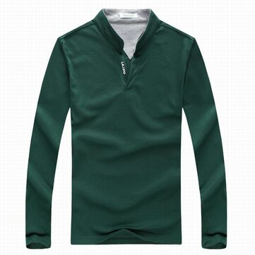 6 Colors Mens Sports Solid Color Long Sleeved Golf Shirt Casual Stand Collar Tops