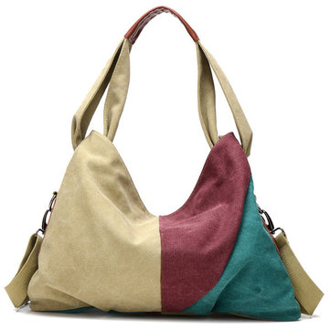 Women Canvas Contrast Color Handbags Casual Shoulder Bags Capacity Hobo Shopping Crossbody Bags
