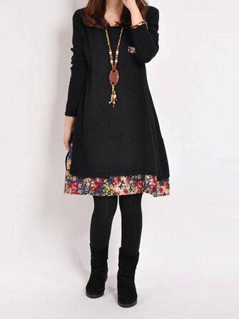 Casual Women Long Sleeve O-Neck Layer Floral Patchwork Dress