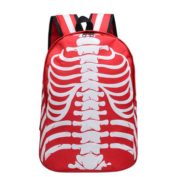 Men Women Skeleton Pattern School Bag Backpack