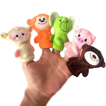 10Pcs Finger Puppets Soft Cloth Animal Doll Hand Toys Plush Toys for Baby Kid Children Christmas Gift