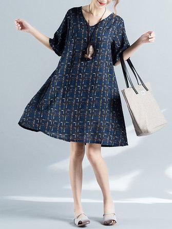 Elegant Lattice V-Neck Three Quarter Sleeve Dress for Women
