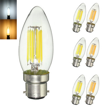 Dimmable B22 C35 6W COB Pure White Warm White Edison Retro Light Lamp Bulb AC220V