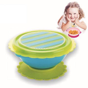 Baby Sucker Bowl Antiskid Alimentación Vajilla Niño Bebé Kids Bowl Tazón de alimentación infantil Lid Training Bowl