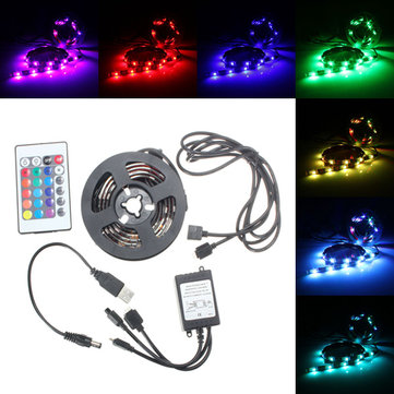 USB Waterproof RGB 5050 LED Strip Light Ribbon Lamp Controller PC TV Cable Tab DC5V