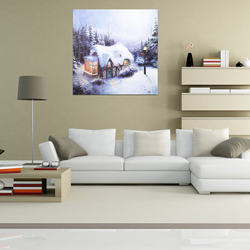 Christmas Snow House Frameless Canvas Painting Living Room Bedroom Wall Painting Home Decor